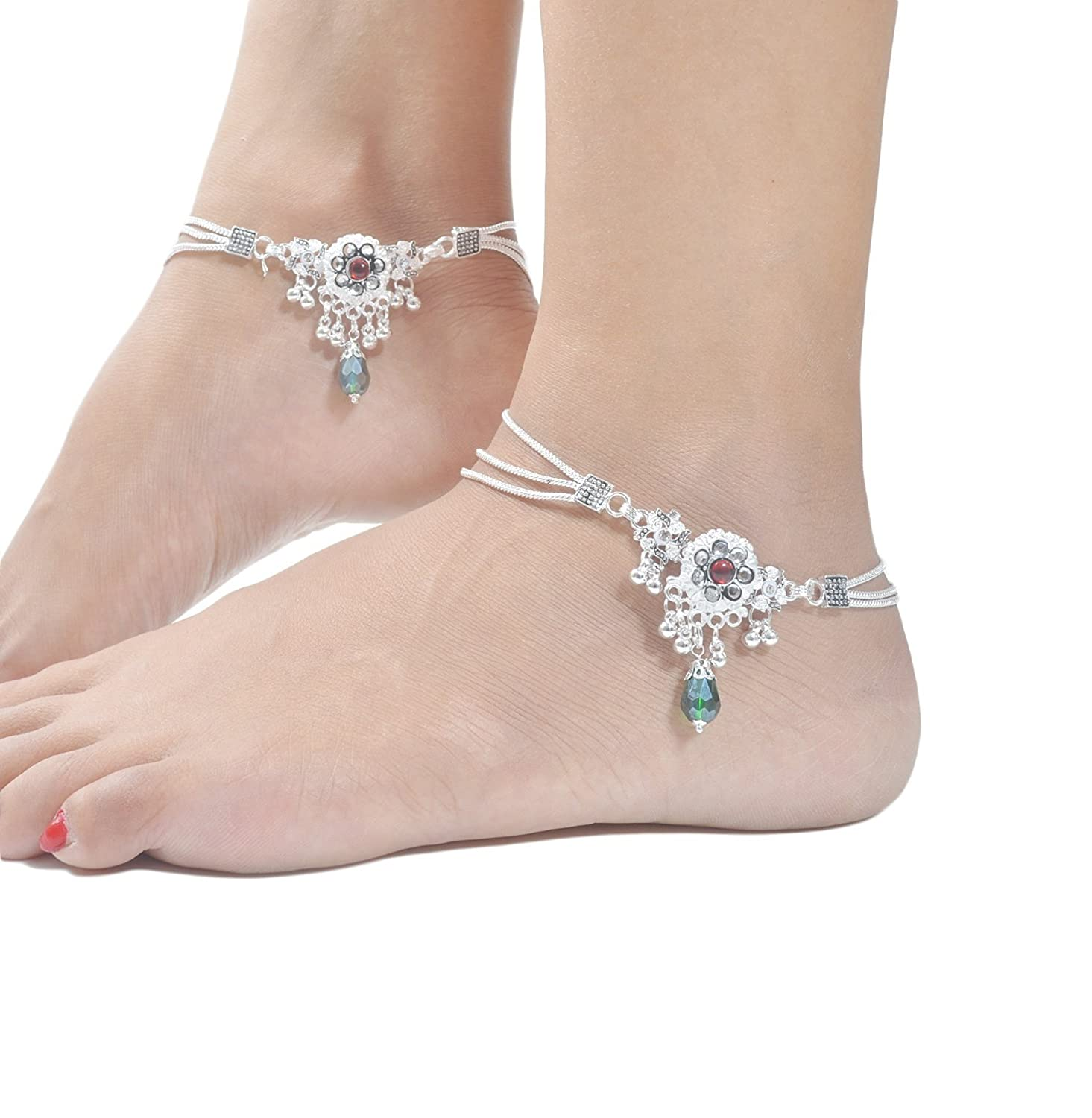 anklet silver pin flower plumeria chain fine foot sterling jewelry anklets solid