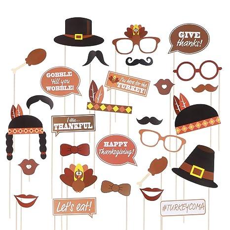 LUOEM Día de Acción de Gracias Apoyos de la caseta de Fotos Divertidos Kits Day de