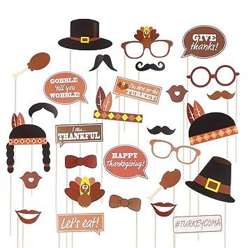 BESTOYARD Día de Acción de Gracias Apoyos de la caseta de Fotos Divertidos Kits Day de