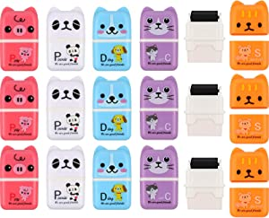 18 Pieces Pencil Erasers Cute Pencil Erasers Animal Pencil Erasers Roller Erasers with Shaving Roller Cases for School, Home and Office