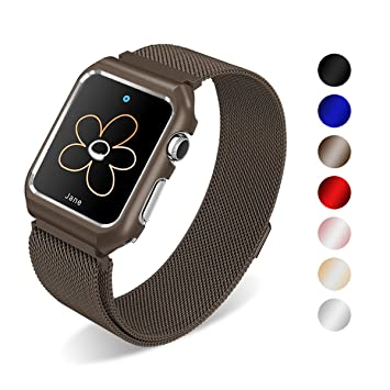 Para Apple Watch Correa 42mm, SUNKONG Milanese correa de reloj de acero inoxidable con funda