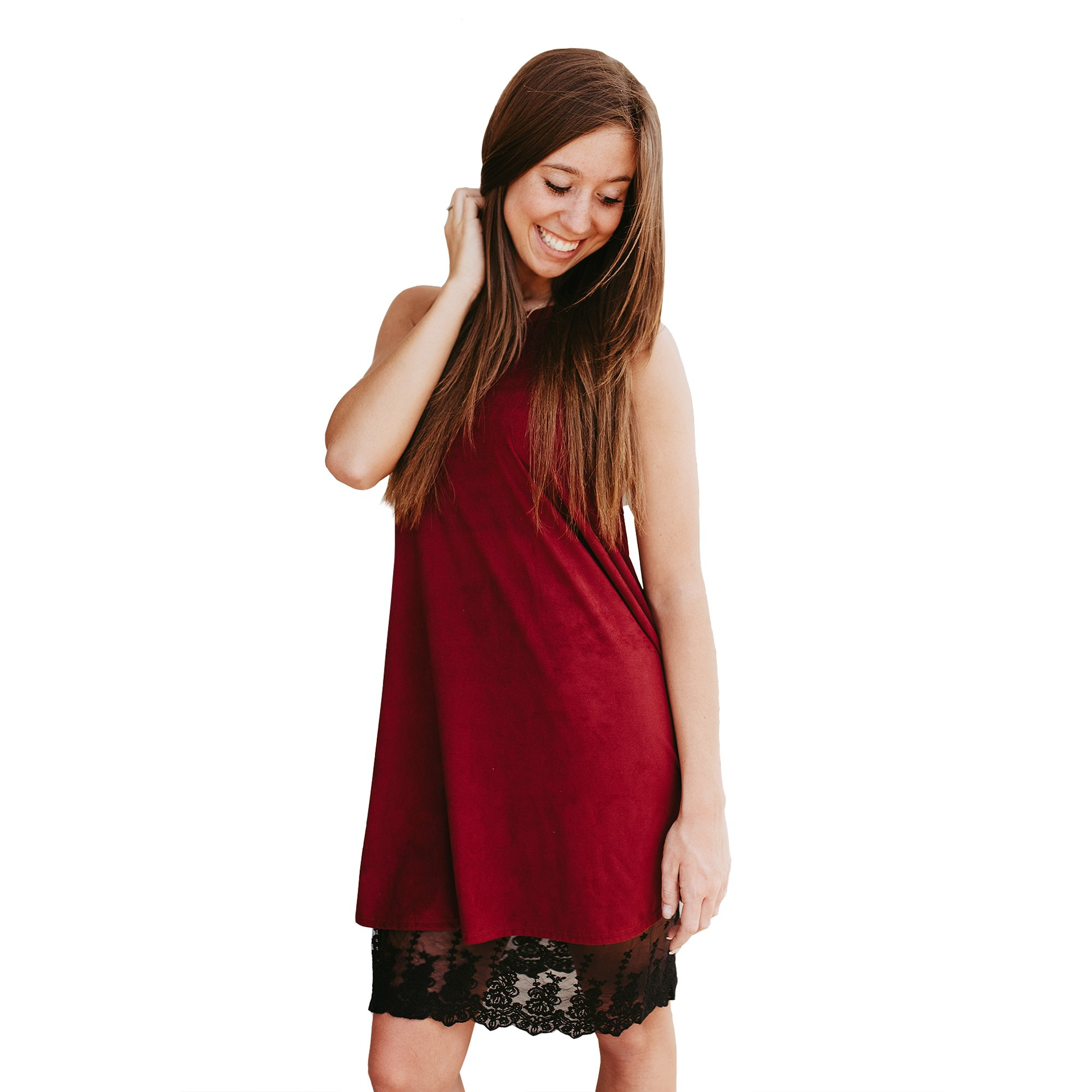Boot Cuffs & Socks Dress Skirt Extender with Lace, Cotton Knit Underskirt for Women - Plus Size Available (XXX-Large, Black)