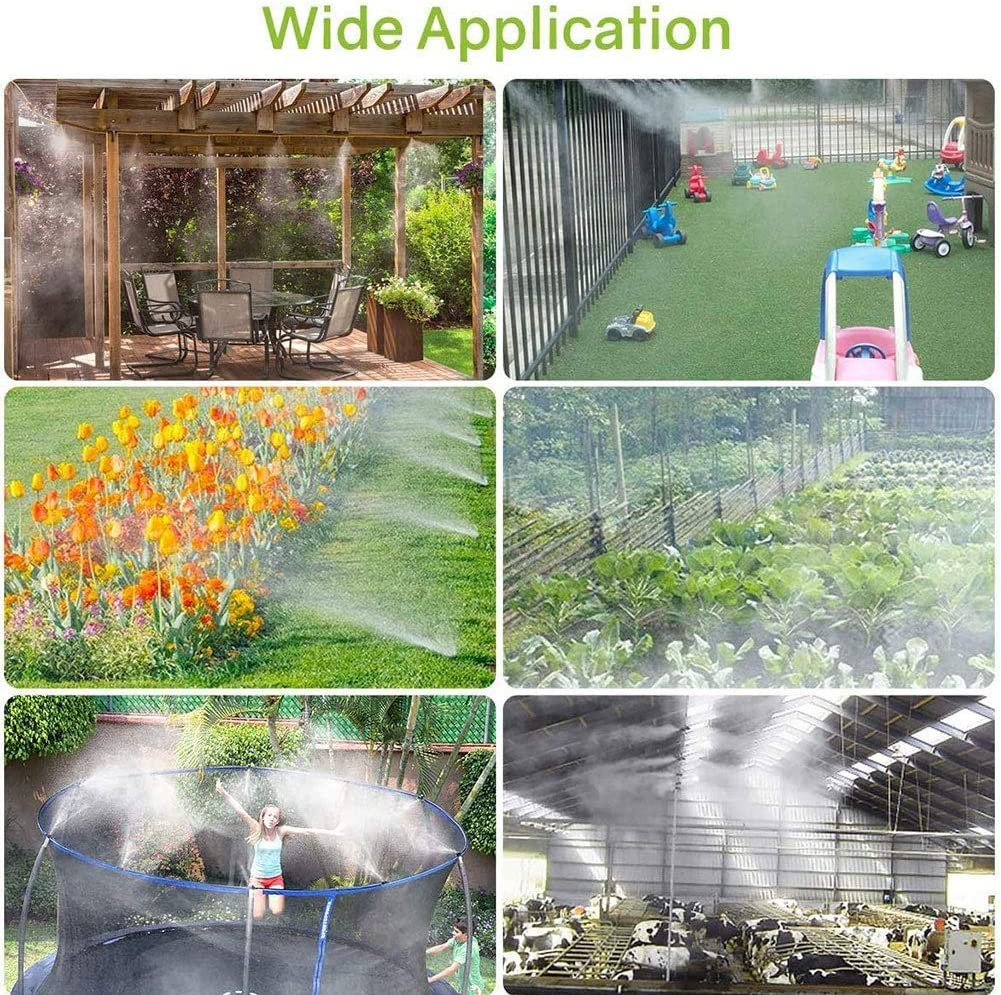 19.7, White Outdoor Misting Cooling System Outdoor Misters Cooling Kit Misting System Misting Cooling System Water Irrigation Fan Misting Mister Kit for Patio Garden Greenhouse Trampoline