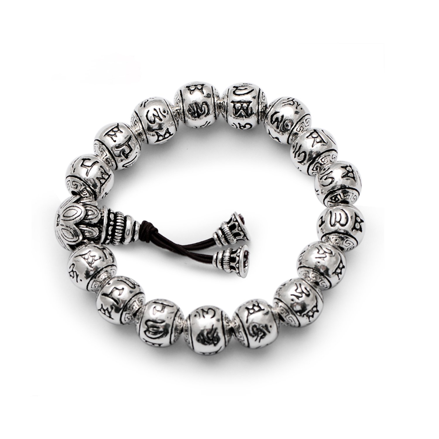MetJakt Buddhism Mantra Bracelet Solid S999 Sterling Silver Buddha Beads Bracelet for Unisex Vintage Jewelry Stretching 7.5-9inches