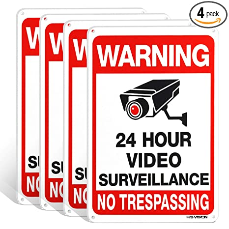 HISVISION Video Surveillance Sign 4-Pack, No Trespassing Metal Reflective  Warning Sign,UV Protected & Waterproof, 10