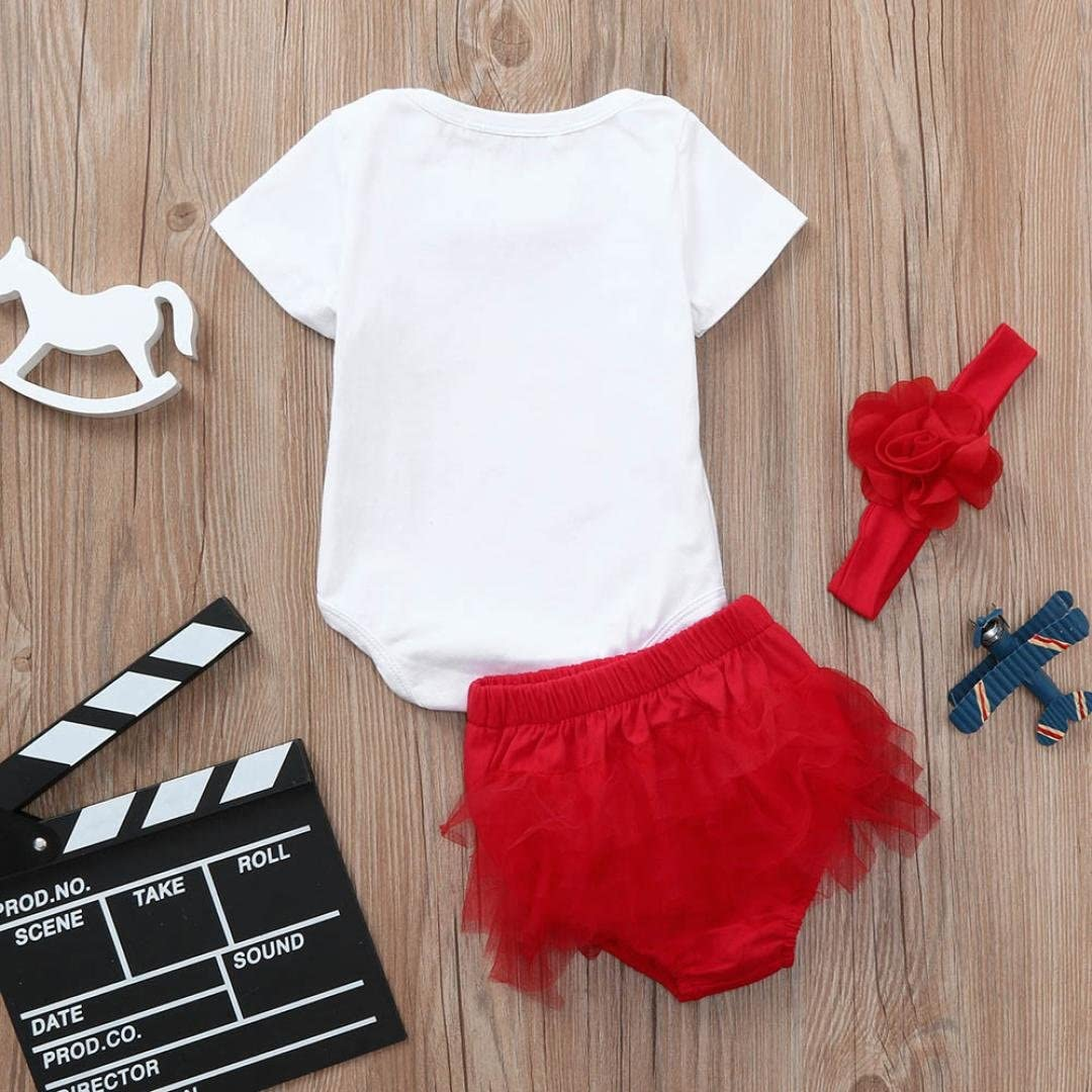 Jchen TM 3Pcs Toddler Baby Girls Letter Romper Lace Shorts Headband Outfits Clothes Set for 0-24 Months