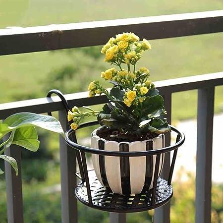 Hanging Plant Racks Balcony Round Flower Pot Rack Railing Fence Outdoor Decor