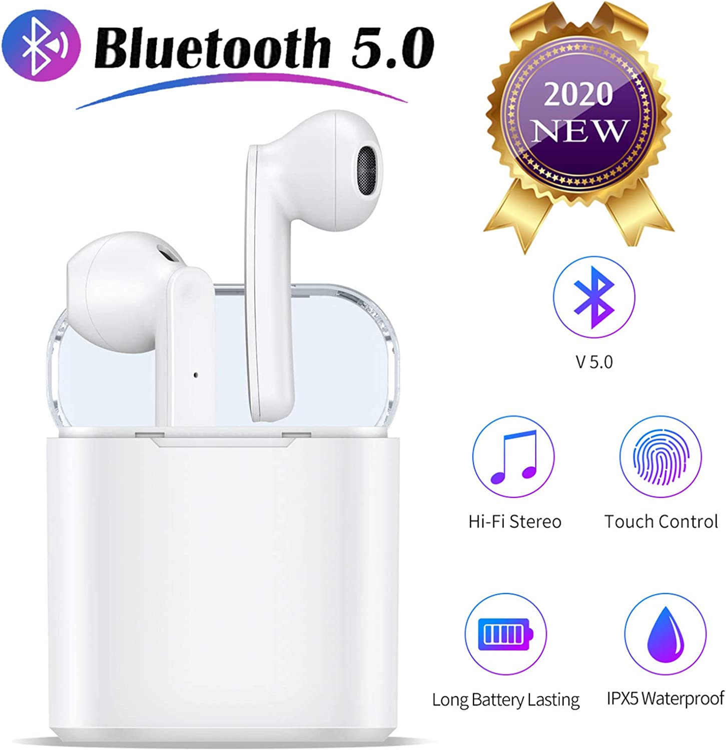 Bluetooth Earbuds Bluetoooth Headphones 5.0 Wireless Earbuds 35H Cycle Playtime in-Ear Wireless Headphones Hi-Fi Stereo Sweatproof Earphones Sport Headsets Built-in Mic for Work//Running//Travel//Gym