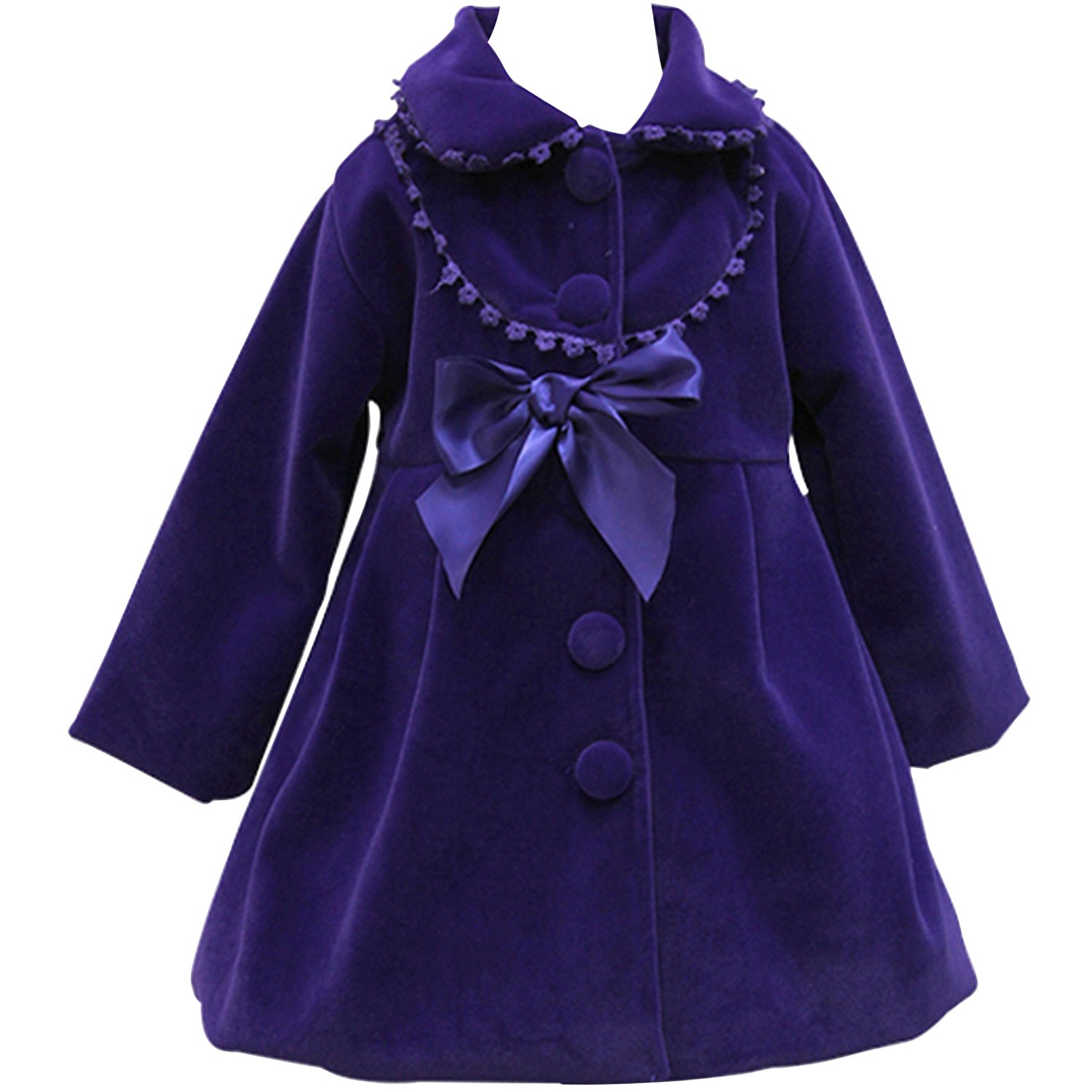 HBDesign Cute Imitation Wool Bowknot Girl Overcoat Dress Coat Outer Wear Winter Violet Size 6