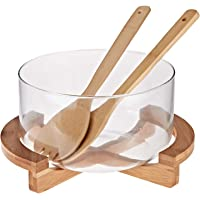 Harmony Salad Bowl With Rack & 2 Pieces Spoons, Clear