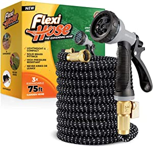 Flexi Hose with 8 Function Nozzle, 75 ft. Lightweight Expandable Garden Hose, No-Kink Flexibility, 3/4 Inch Solid Brass Fittings and Double Latex Core, Gray/Black