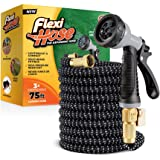 Flexi Hose Lightweight Expandable Garden Hose   No-Kink Flexibility - Extra Strength with 3/4 Inch Solid Brass Fittings…