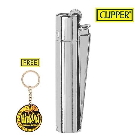 HIBRON Clipper 1 Encendedor Mechero Clásico Largo Metal Silver Plateado Brillante Pulido Y 1 Llavero Gratis