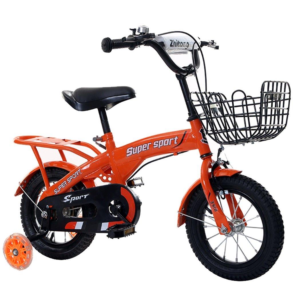 KANGR-子ども用自転車 子供用自転車アウトドアマウンテンバイク2-3-6-8ボーイズとガールズ子供用おもちゃ調節可能ハンドルバー/フラッシュトレーニングホイールとシート付きサドル-12 / 14/16/18インチ ( 色 : オレンジ , サイズ さいず : 16 inch ) B07BTW74J4 16 inch|オレンジ オレンジ 16 inch
