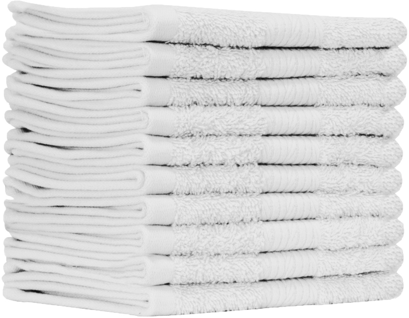 Ample Decor Luxury Washcloths for Bathroom-Hotel-Spa-Kitchen - 100% Organic Soft Cotton - Highly Absorbent Hotel Quality Face Towels - Bulk Set of 10 -WHITE