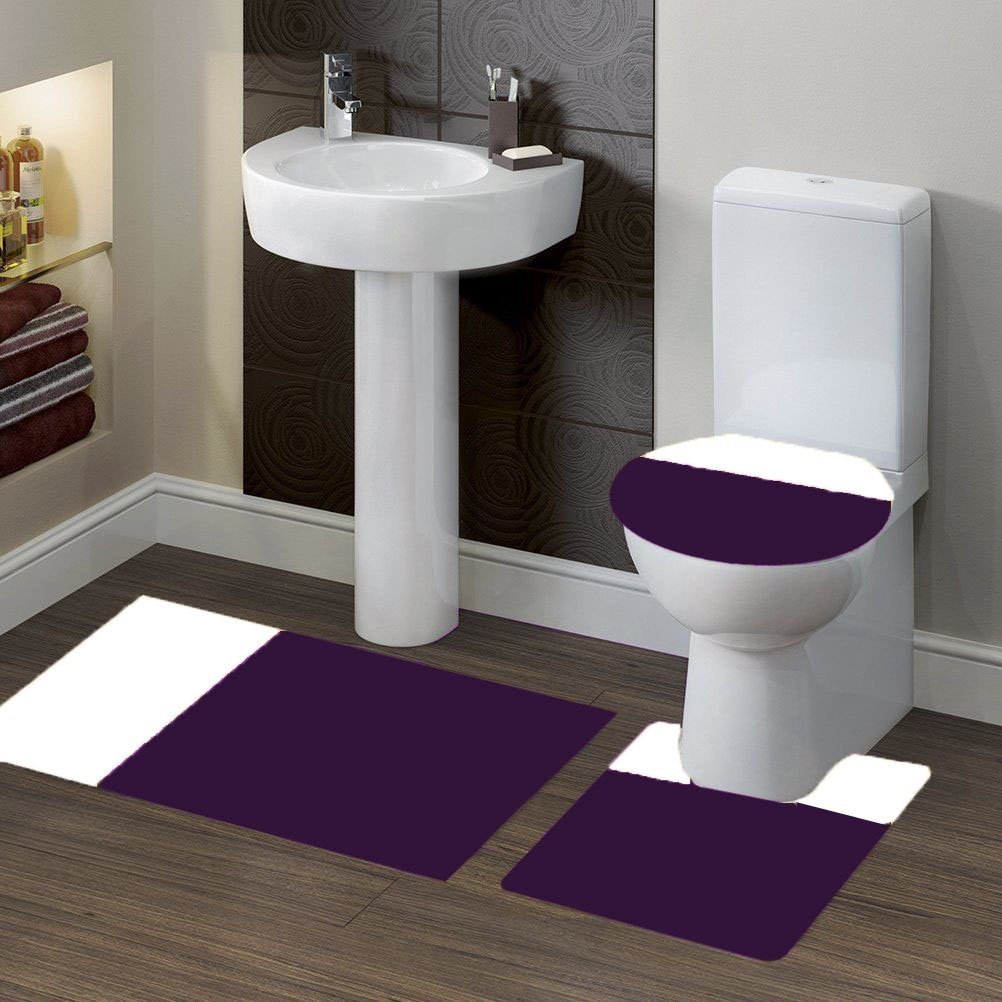 GorgeousHomeLinen (#7) 2 Tone PURPLE/WHITE 3pc Bathroom Set Bath Mat Contour and Toilet Lid Cover with Rubber Backing Rugs