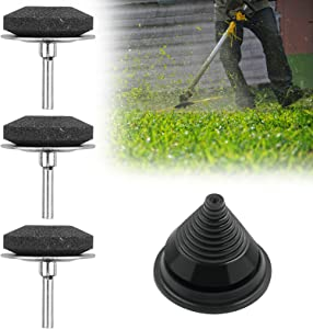 3Pcs Upgraded Lawn Mower Blade Sharpener with 1Pcs Blade Balancer, Universal Rotary Lawnmower Blade Sharpener Reel Mower Sharpening Stone Kit, Garden Tool Sharpener for Power Drill Hand Drill