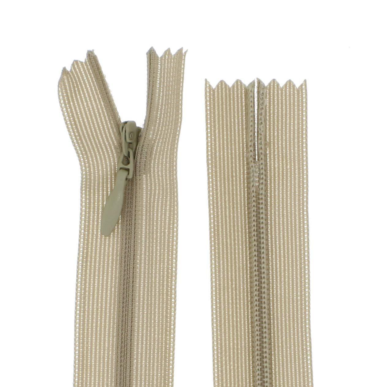 Braun - 304, 20cm zipworld Rei/ßverschluss Nahtverdeckt Verdeckte Nylon Rei/ßverschl/üsse Nicht-teilbar 3mm