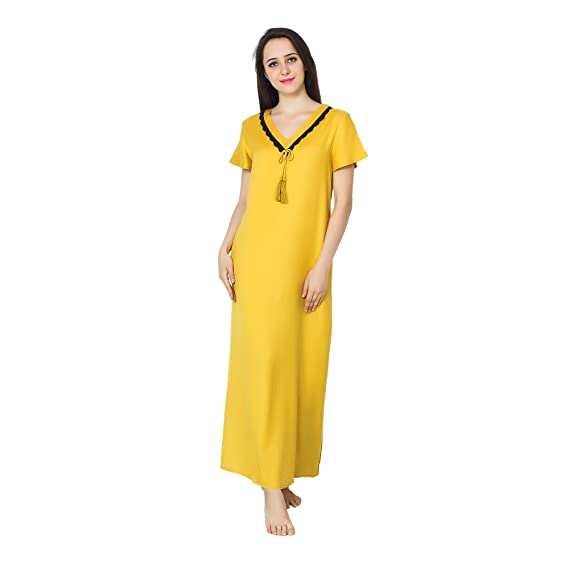 Patrorna Cotton Silk Blend Women Lace Work Shift Nightynight Gownnightwear In Mustard Yellow Size 4xl