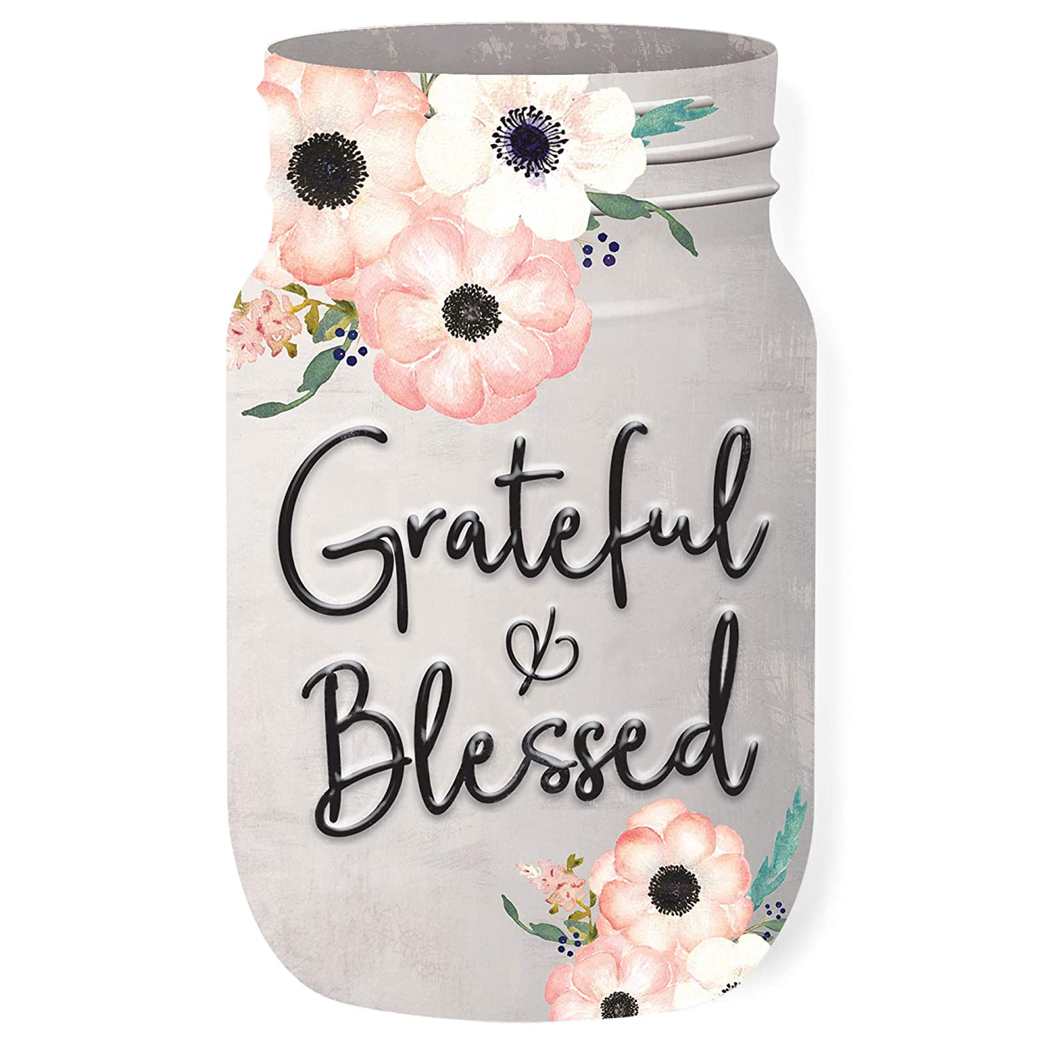 Graham Dunn Grateful and Blessed Jar Floral Grey 6 x 3.5 Wood Shaped Tabletop Plaque P