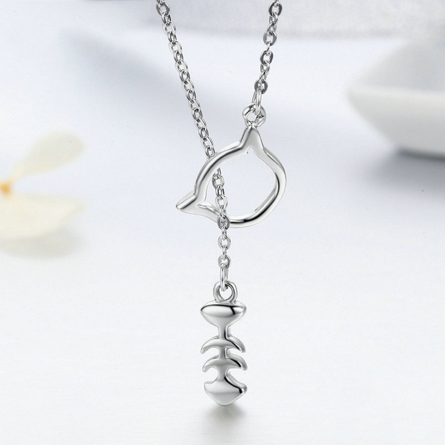 CS-DB Jewelry Silver Love of Cat Chain Charm Pendants Necklaces
