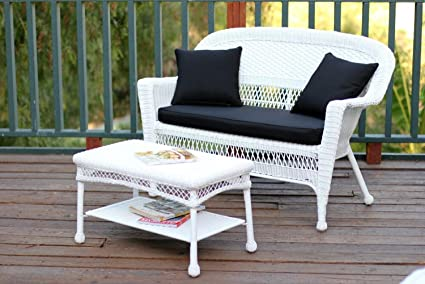 2 Piece Aurora White Resin Wicker Patio Loveseat And Coffee Table Furniture  Set   Black