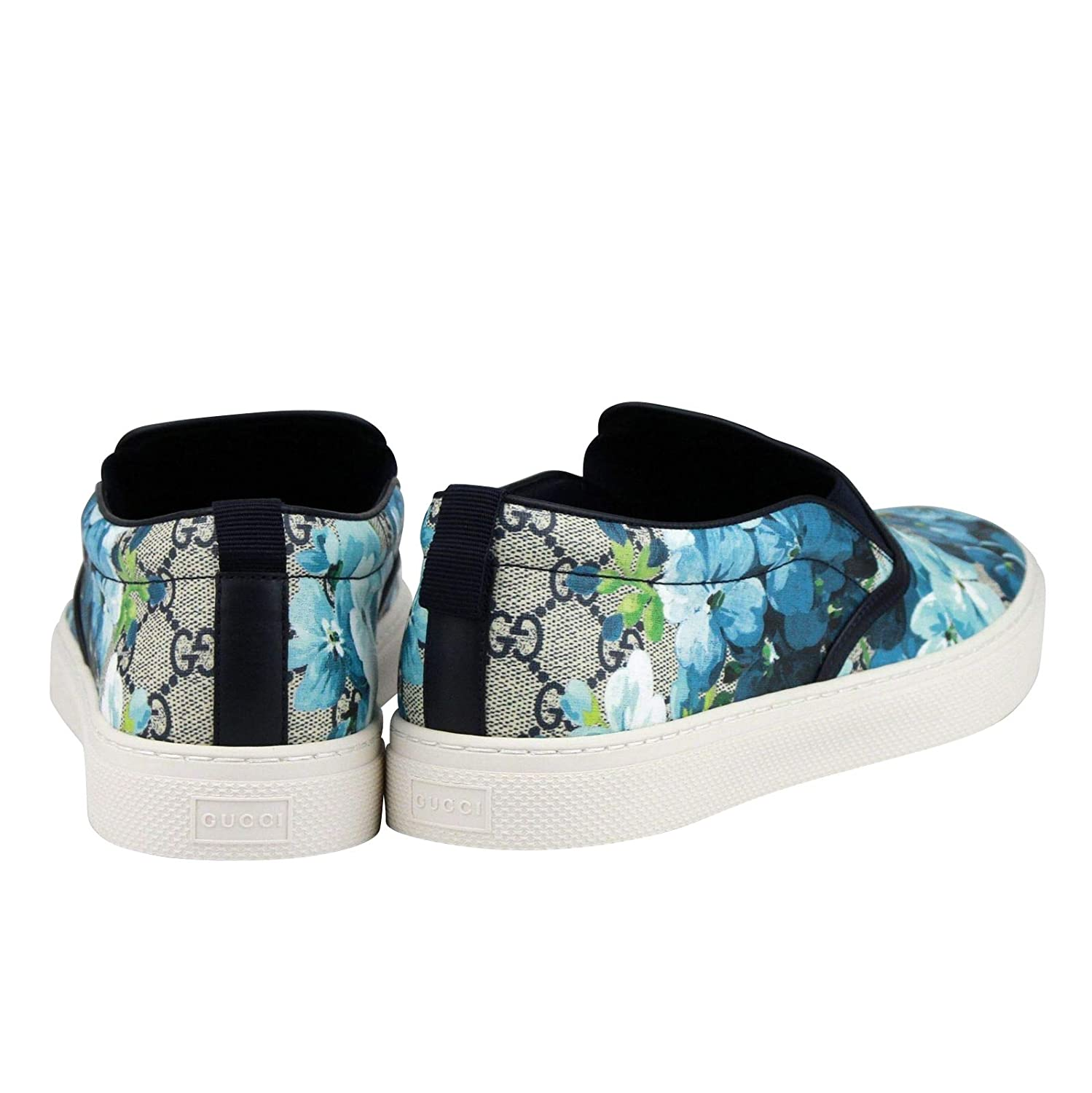 2d31644ba9f Amazon.com  Gucci Bloom Flower Print Blue GG Supreme Coated Canvas Slip  Sneakers 407362 8471  Shoes