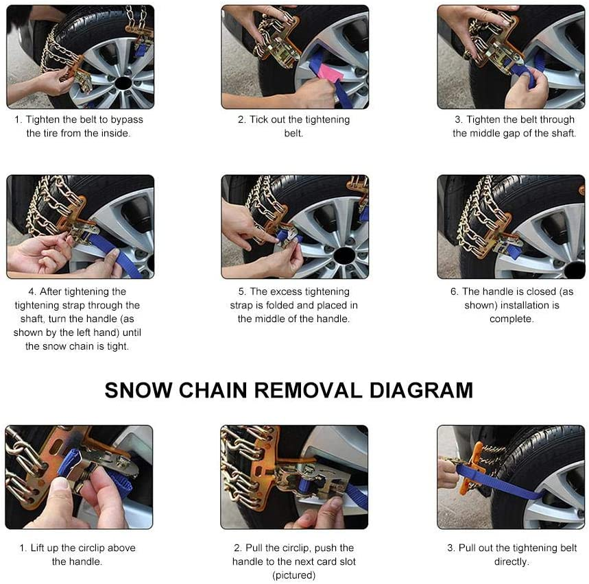 Shengruhua Universal Snow Chains Car Anti Slip for Tires Radial Chain Truck Tire Chain Mud Manganese Steel Snow Chain for Pickup Trucks Cars Snow Blower Conventional