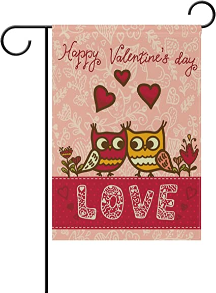 Amazon Com Alaza Double Sided Cartoon Owls Birds Valentines Day Polyester House Garden Flag Banner 28 X 40 Inch For Anniversary Family Garden Decor Garden Outdoor