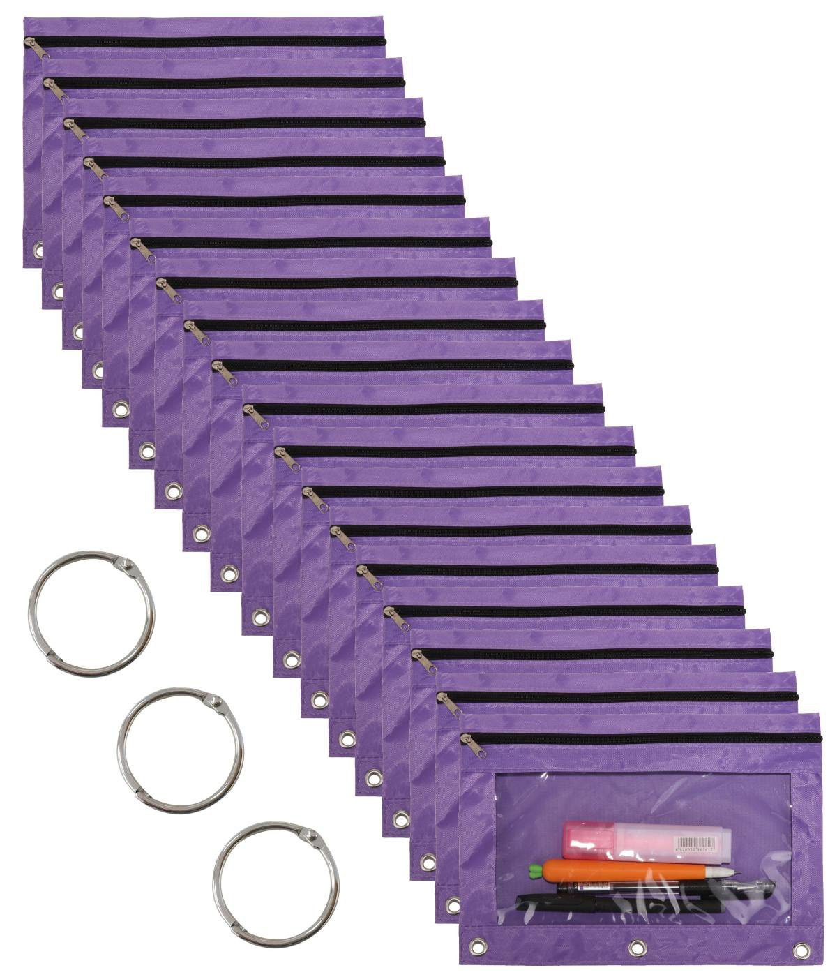 WODISON 18-Packs 3 Ring Pencil Pouch with Clear Window School Classroom Binder Pocket Case Office Stationery Bag Purple