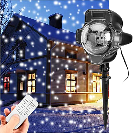 YUNLIGHTS Snowfall Flurries LED Light Snow Projector Lights Garden ...
