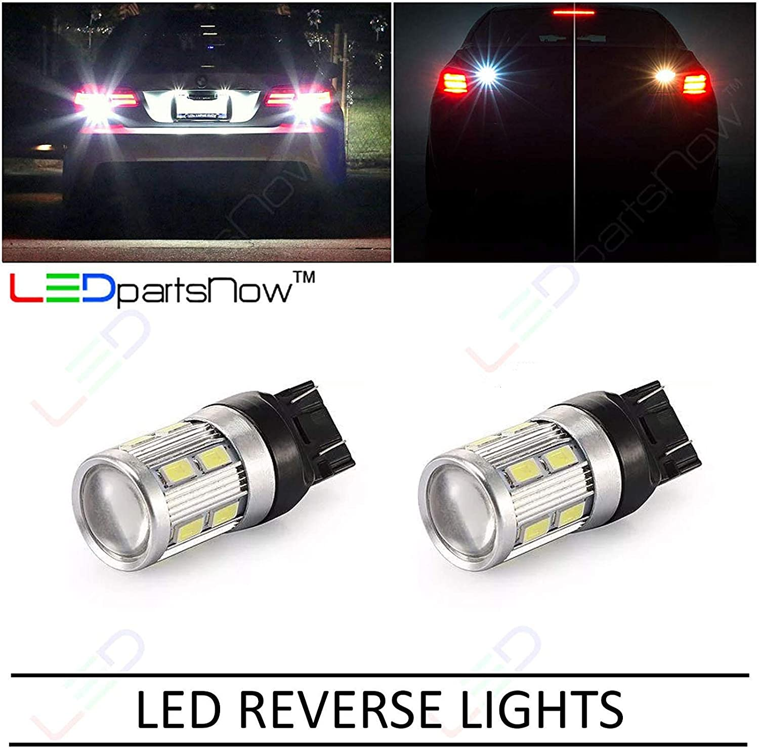 LEDpartsNow WHITE LED Exterior Back Up Reverse Lights Replacement for 2007-2014 Chevy Chevrolet Tahoe 2 Bulbs 992 7440NA 7440NA 7440 7440ST 7440LL 7441