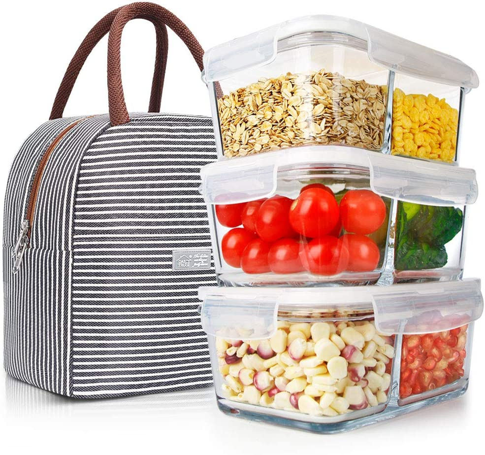 3 Pack 35.5oz Glass Meal Prep Containers 2 Compartments with Lifetime Lids Portion Control Containers Glass Storage Food Prep Containers Lunch Containers with Lids, Oven Freezer Dishwasher Safe