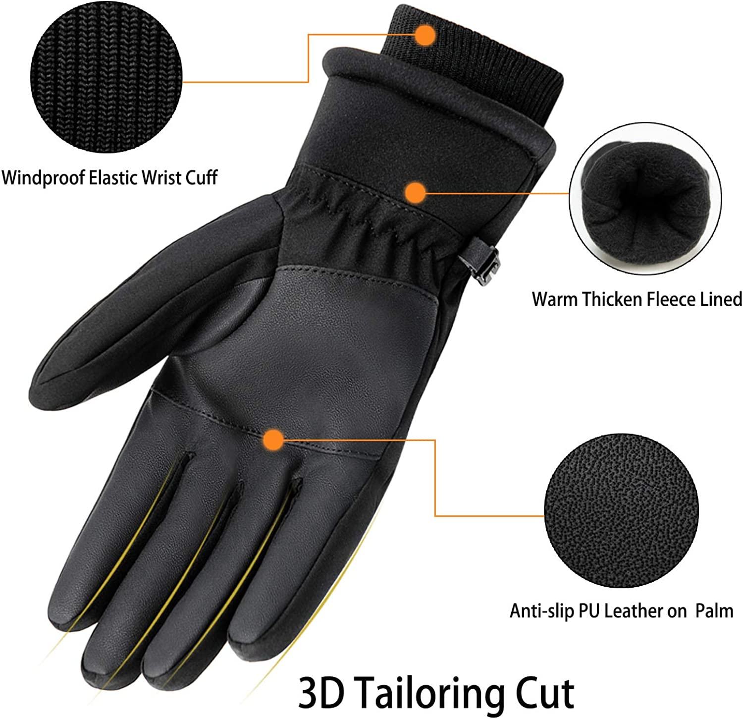 GORELOX Winter Gloves for Men and Women - Touch Screen Waterproof Windproof Thermal Ski Gloves in Cold Weather for Driving Motorcycle Cycling Warmest Gloves : Clothing