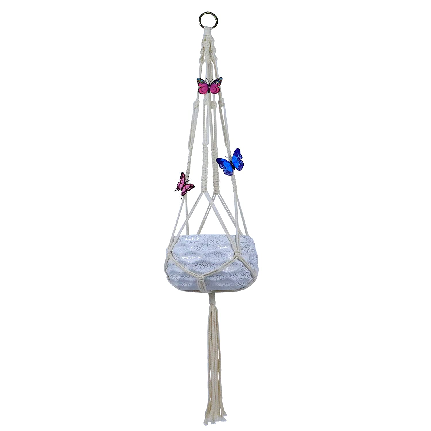GemEwell Handmade Pure Macrame Hanging Planter Plant Hanger Basket Strong Cotton Rope Pots Holder Bohemian Style 4 Legs with Artificial Butterflies 38 Inch, Flat Weaving Pack of 1
