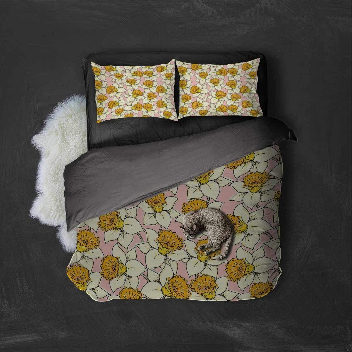 Luoiaax Yellow Flower Extra Large Quilt Cover Playful Spring with Narcissus Daffodils Flourish Graphic Garden Can be Used as a Quilt Cover-Lightweight (Twin) Yellow Cream Pale Pink