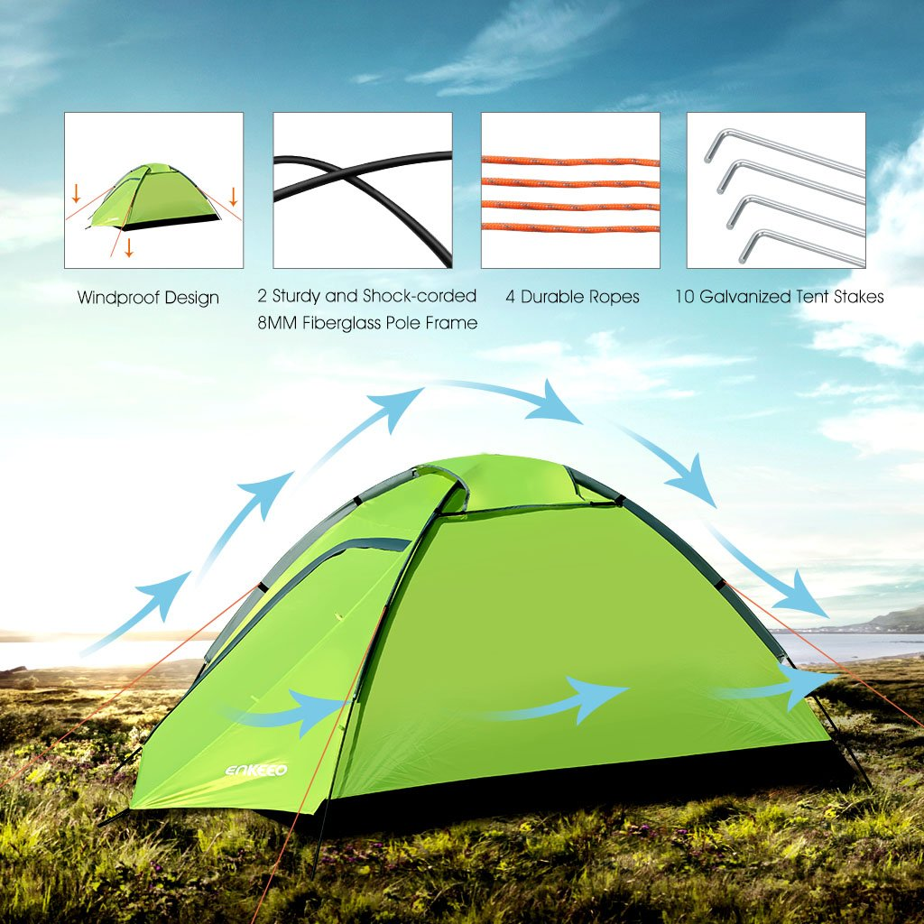 Enkeeo C&ing Tent 2 Person Compact Portable Folding Waterproof Backpacking with Carrying Bag Dome Shape Green Amazon.co.uk Sports u0026 Outdoors  sc 1 st  Amazon UK & Enkeeo Camping Tent 2 Person Compact Portable Folding Waterproof ...