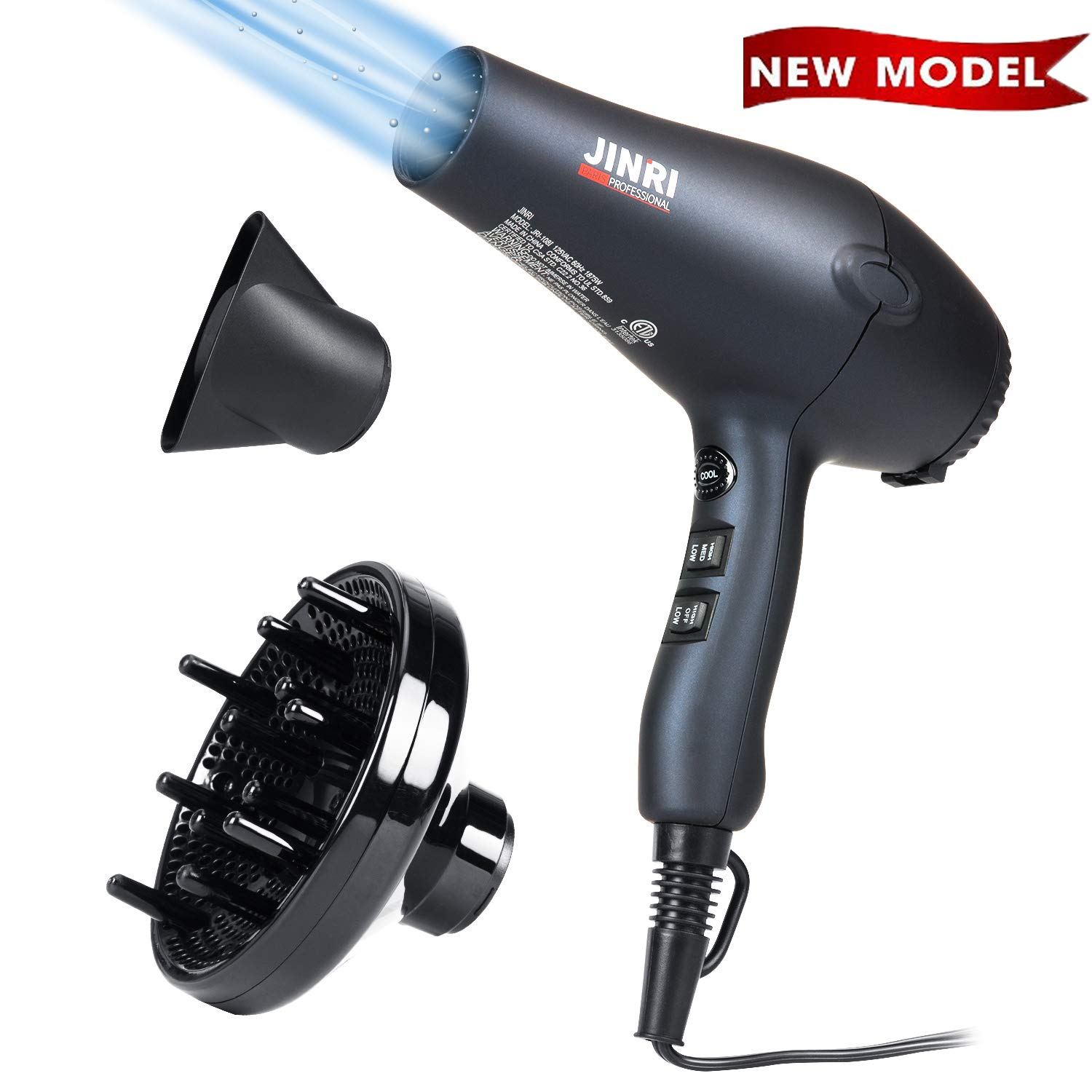Hair Dryer JINRI 1875W Professional Negative Lonic Salon Hair Blow Dryer DC Motor Light Weight Low Noise Hair Dryers with Diffuser Concentrator,Black ETL Certified