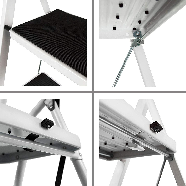 2-Step Folding Stepladder Strong Steel Portable Ladder Anti-Slip 150kg Max Load for Home//Kitchen//Garage//Painting//Decorating//Housework