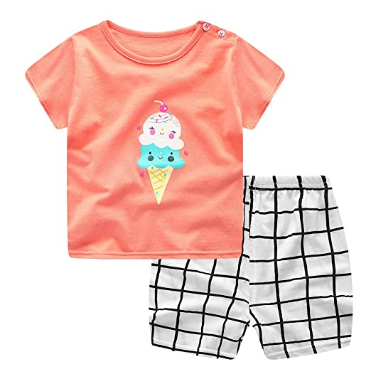 8ec170f4 Specialcal Newborn Baby Girls Ice Cream Printed Short Sleeve T Shirt Top +  Plaid Shorts Pants