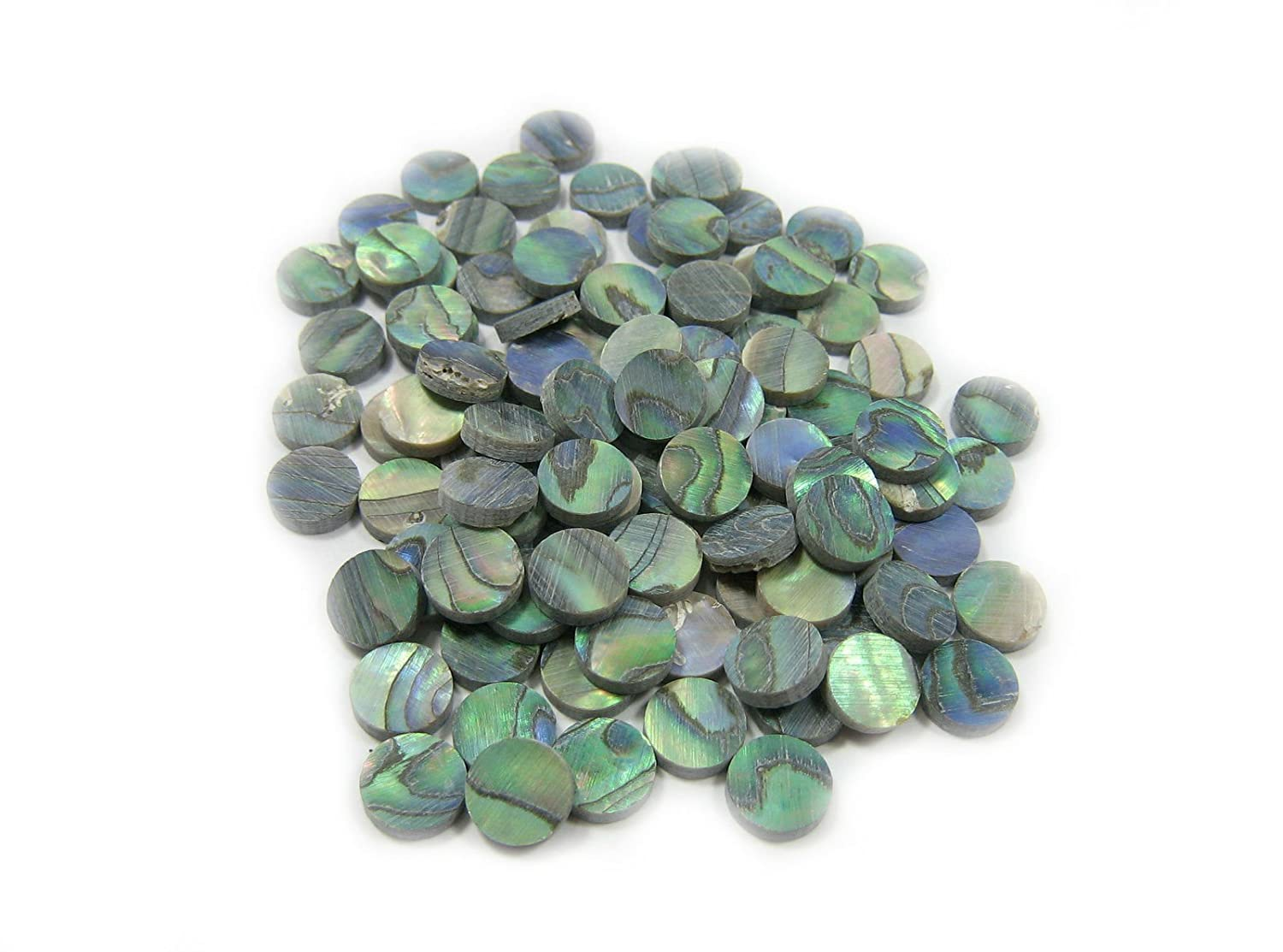 100 Pieces 5mm Round X 1.5mm Thickness Green Abalone Fretboard Position Mark Inlay Dots For Ukulele Guitar (5mm G) 711VY6EL9mL