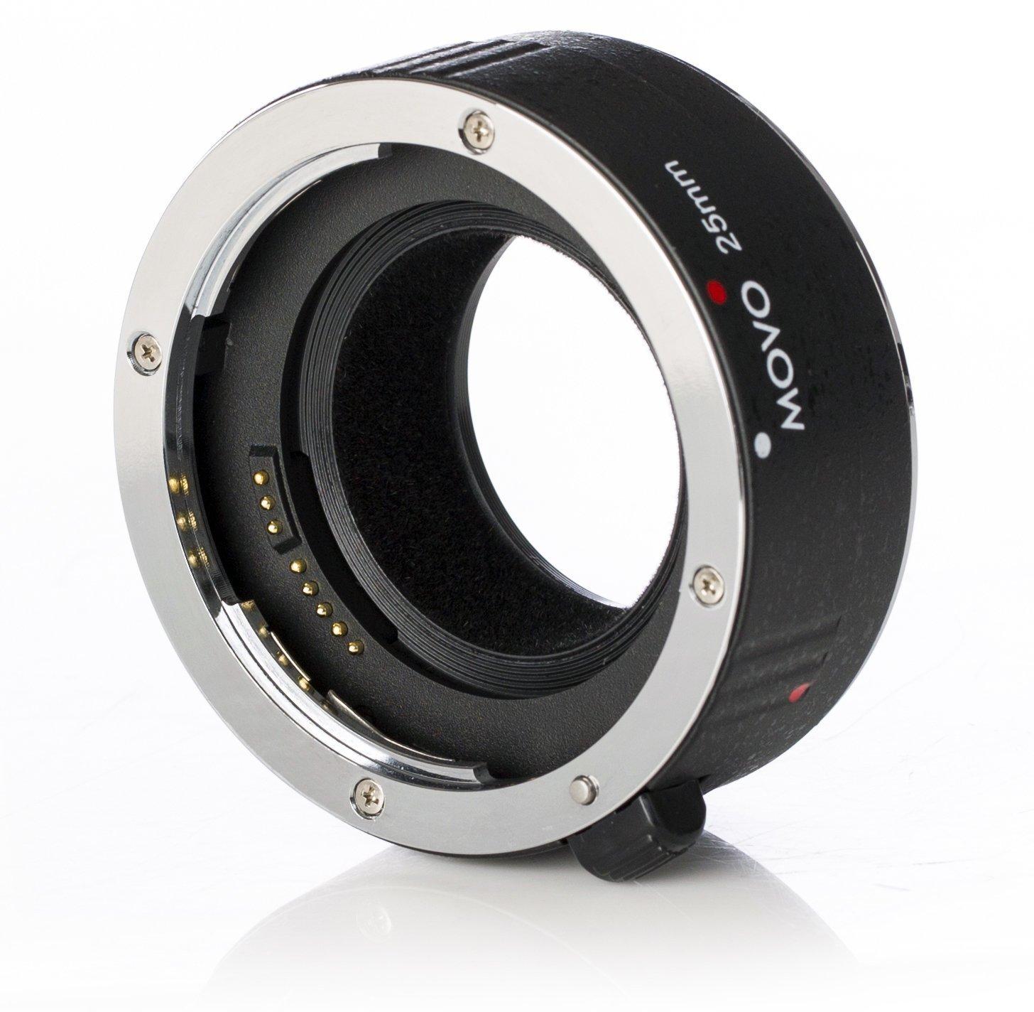 Movo MT-N25 25mm AF Chrome Macro Extension Tube for Nikon Mount DSLR Camera, Nikkor Lens System by Movo