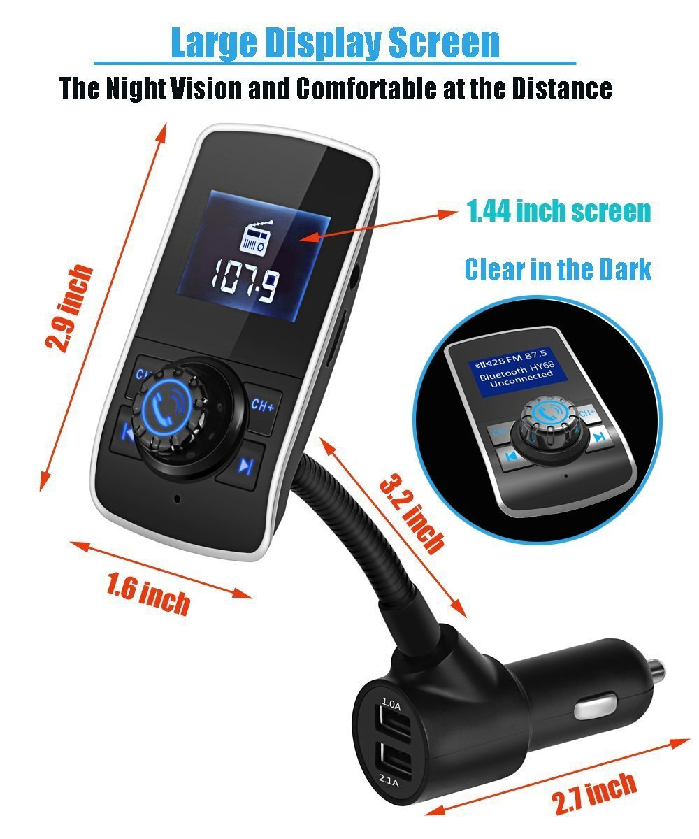 Bluetooth FM Transmitter,Wireless Radio Transmitter Adapter Hands-Free Car Kit Stereo Audio Receiver with 1.44 Inch LCD Display 3 USB Ports Support AUX Input//Micro SD Card//USB Flash Drive Geelyda 4351493816
