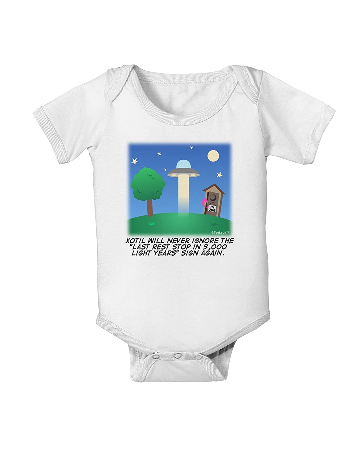 TooLoud UFO Stopping at an Out-House Text Baby Romper Bodysuit