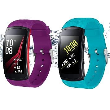 Rukoy Correas para Samsung Gear Fit2 Band/Gear Fit2 Pro [Paquete de 2: Verde Azulado + púrpura], Accesorios para Baterías de Repuesto para Samsung ...