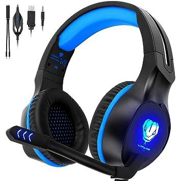 QcoQce - Auriculares para Xbox One con micrófono y iluminación LED, Auriculares de Juego para Ordenador portátil y PC, Mac y Smartphone Azul Azul: ...