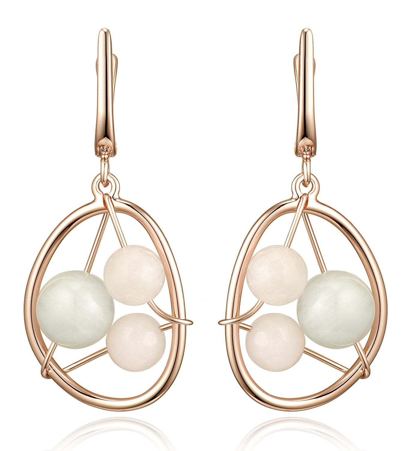 Lanfeny Rose Golden 925 Sterling Silver Hollow Dangle Earrings with Quartz and Moonstone Wire Winding