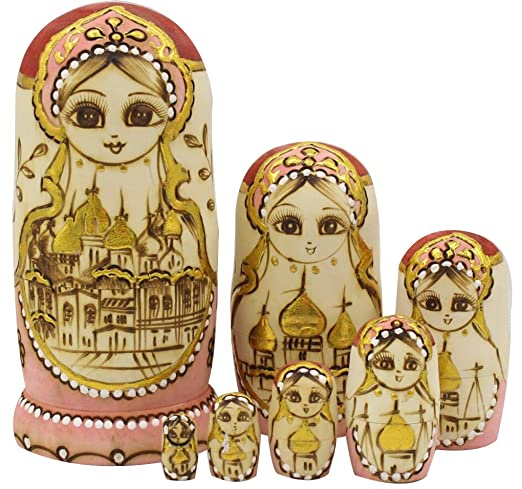 Perfect Mother's Day Gift Cute Handmade Wooden Traditional Russian Girl in Moscow Kremlin Traditional Russian Nesting Dolls Matryoshka Dolls Set 7 Pieces For Kids Toy Christmas Gift Home Decoration