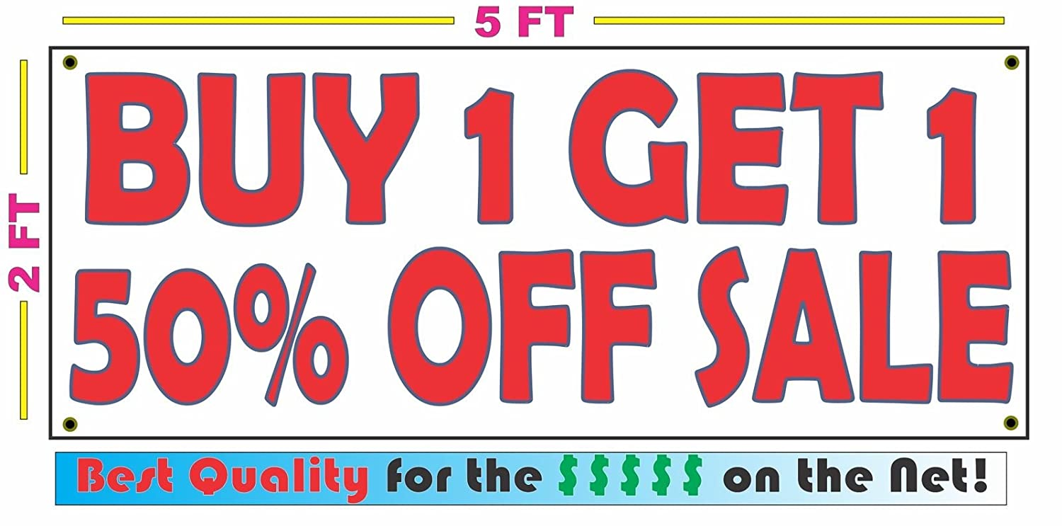 179dbfbeaf Amazon.com: BUY ONE GET ONE 50% OFF SALE Banner sign: Home & Kitchen