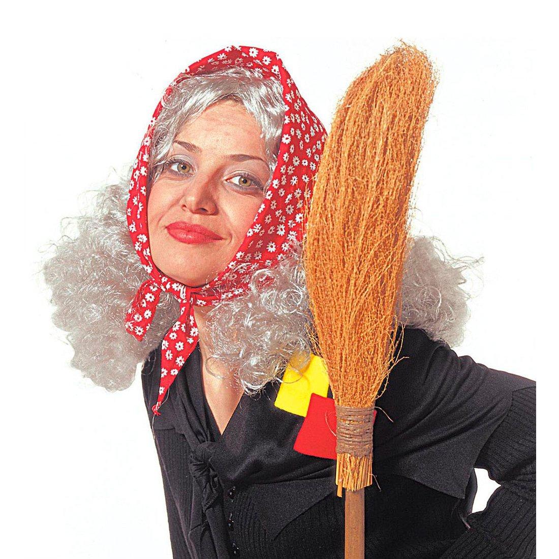 Bruja peluca Abuela peluca con pañuelo Abuela Bruja Vieja Mujer de carnaval Mujer: Amazon.es: Juguetes y juegos